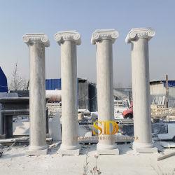 屋外の装飾のための中国の顧客用Ionian柱の白い大理石の柱か柱