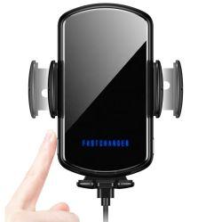 Teléfono celular una carga rápida coche Qi Soporte Soporte cargador de teléfono inalámbrico coche