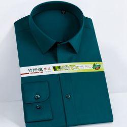 Fibre de bambou de haute qualité couleur solide manche longue robe de personnalisation de chemises pour hommes