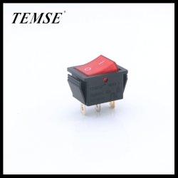El interruptor basculante 250V 3 Pin DPST on/off iluminado Botón coche rojo para Caldera de CA