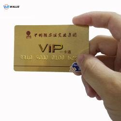 Campione gratuito HF RFID 13,56 MHz Fudan F08 Custom Printing PETG /Plastic Card Gold VIP Smart Card