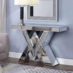 더블 V자 형태의 다이아몬드 콘솔 테이블 거실이 거울로 되어 있습니다 직사각형 콘솔 테이블