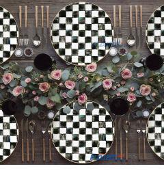 白くおよび黒い正方形パターン結婚式のための陶磁器の版の一定の骨灰磁器の皿の一定テーブルウェア