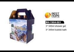 L'usine OEM 3PCS Bain SPA gamme bouteille de bière de Cadeaux Hommes Gel Douche Kits de Jeu