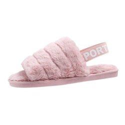 Comercio al por mayor de la mujer pelusas sí Diapositiva de felpa Sandalia de cuña de zapatillas