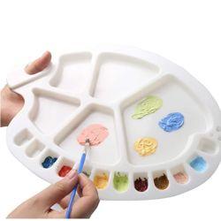 Recipiente de tinta Becol paletes de plástico vazios, 17 poços paletas de bandeja de pintura de bambu para embarcações de bricolage Arte Pintura em aquarela de Óleo