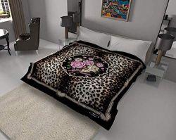 Королева цветок леопард черный корейского норки офсетного полотна