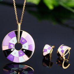 insieme d'acciaio dei monili del diamante di effetto dello smalto di modo delle donne della collana 316L
