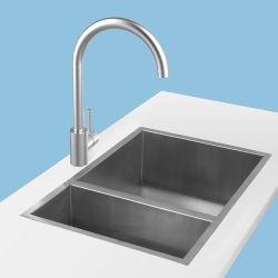 Masía filipina de agua caliente y fría Splash-Proof fregadero de acero inoxidable 304 giratorio Grifo de oro rosa de cocina