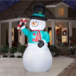 8 pies de muñeco de nieve inflable con Candy Cane Airblown Decoración de Navidad