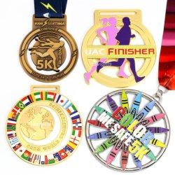 De in het groot Goedkope Ambacht van het Metaal van de Douane 3D ontwerpt Uw Eigen Lege Medaille van de Sport van de Toekenning van de Herinnering van de Marathon van het Metaal van de Legering van het Zink Gouden Lopende voor de Gift van de Bevordering
