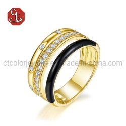 Venda a quente Novo Design de Moda de imitação de homem e mulher de bijutaria 925 Prata ou Bronze 14K Ouro Preto Moda Anel esmalte joalharia