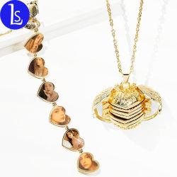 Forme de coeur de bricolage personnalisé Photo Frame médaillon flottant Necklace Mode bijoux