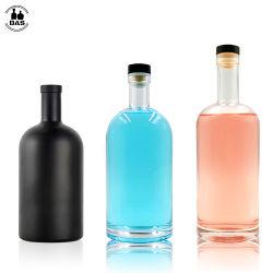 Comercio al por mayor 100ml 200 ml 375ML 500ml 700 ml 750 ml 1000ml claro Mini redonda negra vacía beber Whisky Ron Vodka Gin espíritu botella de licor de vidrio con tapón de corcho
