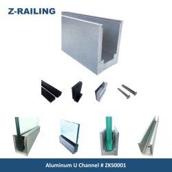 알루미늄 6063 Ss 유리제 방책 내식성을%s H100mm X W62mm U 채널