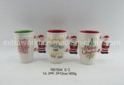 2021 Natal caneca de cerâmica Serigrafia Cup 3D pega Hand-Painted