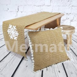 Home Textile PP tissés intérieure et extérieure de la paille de Noël moderne Table Runner Chiffon de table