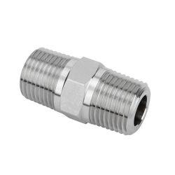 Moulage d'investissement en acier inoxydable du raccord de tuyau à filetage NPT, BSP Mamelon hexagonal Nipple-Lost hexagonal du tuyau de moulage de cire