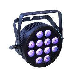 12X12W RGBWA UV 6 en 1 del Disco PAR peut avec boîtier ultraplat en aluminium moulé et Powercon