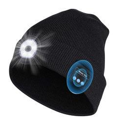 사용자 지정 유니섹스 무선 헤드폰 Bluetooth LED 비니 모자(USB 포함 충전식 조명 따뜻한 캡