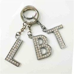 Llavero de cristal de la moda Rhinestones Alfabeto letra inicial de la cadena de llavero Llavero letra K Bolsa Llavero joyas colgante
