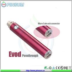 2014년 최고의 판매로 화려한 색상의 전자 담배 에로드 USB 패스스루 배터리