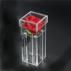 명확한 작은 방풍 유리 로즈 예 플라스틱 유리 그스름 꽃을%s 덮개를 가진 아크릴 꽃 선물 상자