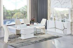 MDF Edelstahl Esszimmer Glas Esstisch Set und Stuhl Gehärtetem Glas Schreibtisch Moderne Wohnmöbel