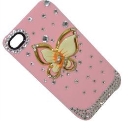 多彩なiPhoneのための水晶によってはめ込まれる箱、iPhone 4 (BSPC-00017)のための蝶パターン場合