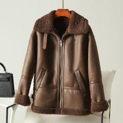 preço de fábrica casacos de pele de carneiro personalizado feito de pele artificial roupas casual Casaco estilo Bomber em pele de motociclo