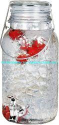 1 جالون/3.8 لتر فاكهة الفواكه بالزجاج دورق نبيذ من الماء موزّع مع حنفية وثلج فاكهة وغطاء زجاجي