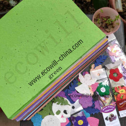Um4 150gsm, 200 gsm, 250 gsm, 300 gsm, 100% biodegradáveis feitos à mão papel de sementes e de sementes germinadas Plantable Papel com sementes Vegetais de ervas de flores de cor verde