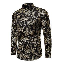 남성용 S Paisley 셔츠 골드 광택 프린팅 Mandarin Collar Slim 긴팔 셔츠 착용
