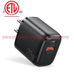 PD 充電器携帯電話充電器 EU US UK Au Wall Apple 用 QC 3.0 PD 20W USB C 充電器を接続します iPhone 高速ポータブル電話充電器