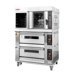 Professionele Bakkerij Gecombineerde die Oven met de Oven van het Rek en van het Dek in de Opslag wordt gebruikt