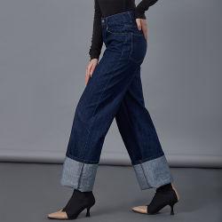 Dernière conception Mesdames classique de gros de jeans taille haute large de la jambe de pantalon Pantalon Vintage copain Denim