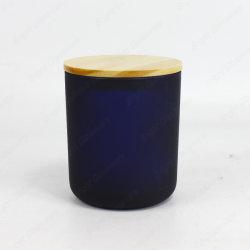 Роскошные ароматические темно-синяя большие свечи держатели стекла с крышкой из дерева для продажи