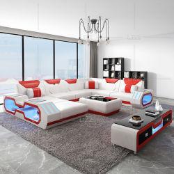 Fashion Home Furniture LED U forma Grain pelle divano