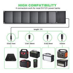 21W 휴대용 솔라 패널 충전기, 방수 캠핑 기어 솔라 파워 충전기(iPhone용 USB 포트 2개 포함