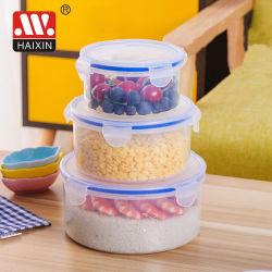 La FDA LFGB Clip Redonda tapa de plástico Contenedores de almacenamiento de alimentos Alimentos caja (4pcs)