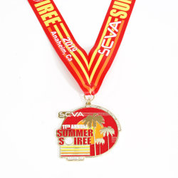 Het Zink van de douane legeert het 2D 3D Zachte Email van de Zilveren medaille van de Trofeeën van de Medailles van de Sporten van de Marathon Lopende Gouden met het Lint van de Medaille