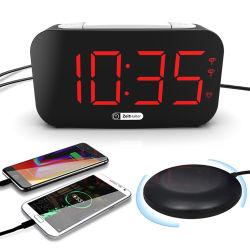 Amazon 2021 درجة سطوع شاشة LED عالية البيع الضبط التلقائي تنبيه هزاز ساعة لضعاف السمع