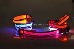 USB 재충전용 LED 저속한 개 애완 동물 고리 사려깊은 Light-up 안전 애완 동물 고리