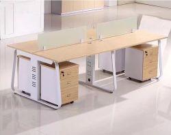 جدول سطح المكتب Melamine طاولة عمل مكتبية خطية 4 أشخاص محطة عمل مكتبية