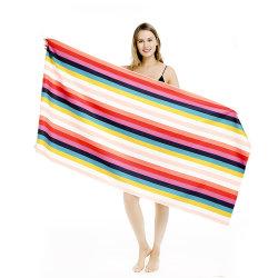 標準的なライト級選手の低いMOQは80 x 160大きい砂網袋が付いている虹のMicrofiberのビーチタオルを放す