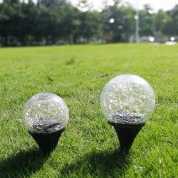 실외 LED 매설 솔라 크랙형 유리 글로브 볼 램프 정원 장식용으로