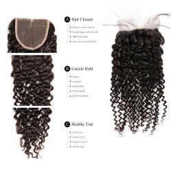 Natürliche Farbe lockige/Wasser-Wellen-/Karosserien-Wellen-gerade natürliche Jungfrau-brasilianische indische Haar-Bündel mit dem Schliessen-Menschenhaar