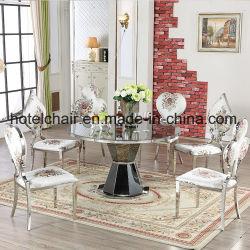 현대적인 스타일의 스테인레스 스틸 다이닝 테이블과 의자