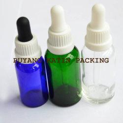 점적기 작은 유리병을%s 가진 호박색 녹색 파란 정유 유리병