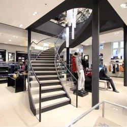 Escalier moderne en verre Rolid rail de protection du bois pour la maison de l'escalier incurvé